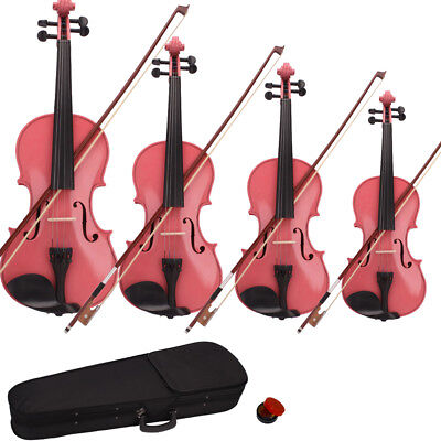 New Acoustic Violin 1/2 1/4 1/8 3/4 4/4 Size Pink + Case+ Bow + Rosin
