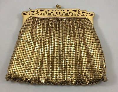 Vintage Whiting Davis Gold Tone Metal Beaded Clutch Purse with Kisslock Clasp