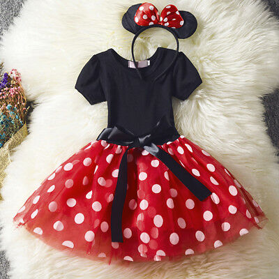 Girls Minnie Mouse Tutu Dress Birthday Christmas Party Costume Princess Outfits