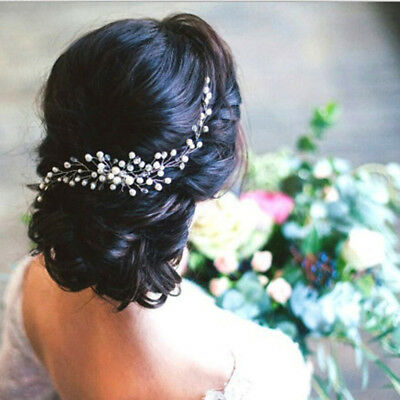 Women Bridal Crystal Faux Pearl Hair Comb Hair Piece DIY Jewelry Wedding Tiaras