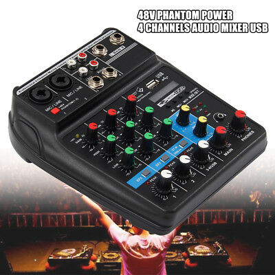 Mixer Console with Bluetooth Record 48V Phantom Power 4 Channels Audio Mixer USB
