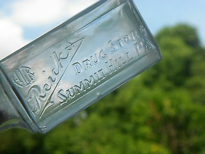 RARE Antique BIM Tooled Lip Clear Glass Bottle Reicks Drug Store Summit Hill PA