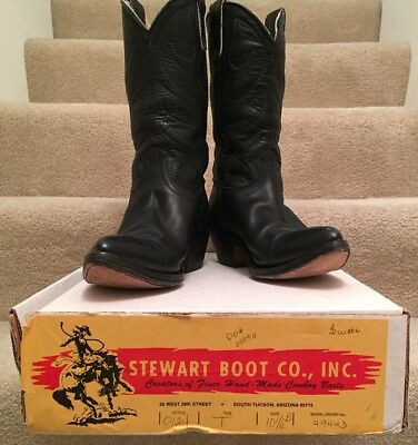 e2a3bf4899b VINTAGE STEWART BOOT Co Mens Western Cowboy Leather Black Boots 1977 Size  10.5 B