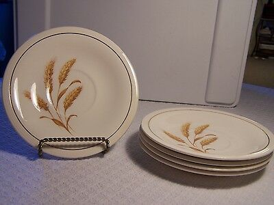 """Edwin M. Knowles China GOLDEN WHEAT Lot of Five (5) Saucers 6"""" Wide"""