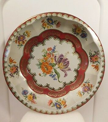 """Vintage Daher Decorated Ware Floral Bouquet 1971 Tin Round Bowl England 10"""" (B)"""