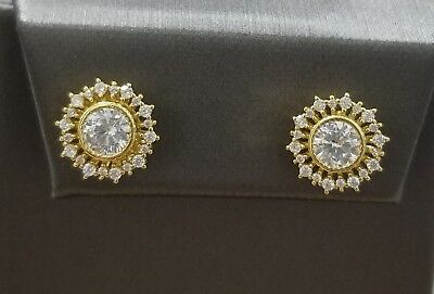 14K Yellow Gold Sterling Silver Round White Diamond Stud Earrings