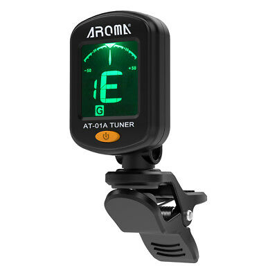 Chromatic LCD Clip-On Electric Tuner Black for Bass Guitar Ukulele Violin Q8G5