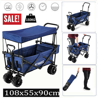 ENKEEO Foldable Utility Wagon Sports Outdoor trolley Cart +Canopy Large Capacity