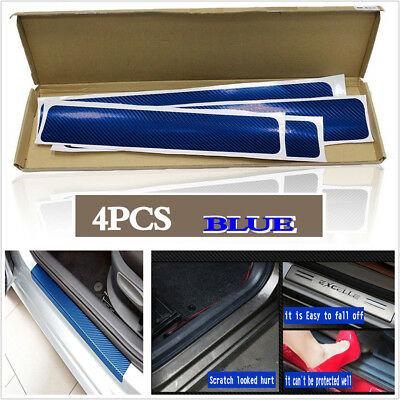 4Pcs 3D Blue Carbon Fiber Car Door Pedal Plate Sill Scuff  Anti Scratch Sticker