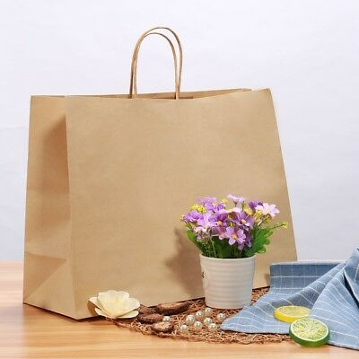 50/100Pcs Brown Kraft Paper Retail Gift Bag Shopping Grocery Bags With Handles