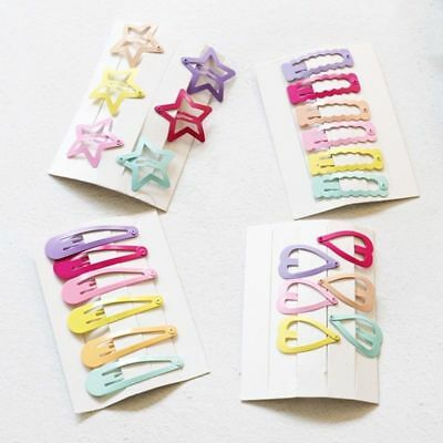 6x Cute Kid Girl Hairpins Candy Color BB Snap Hair Clips Hair Accessories