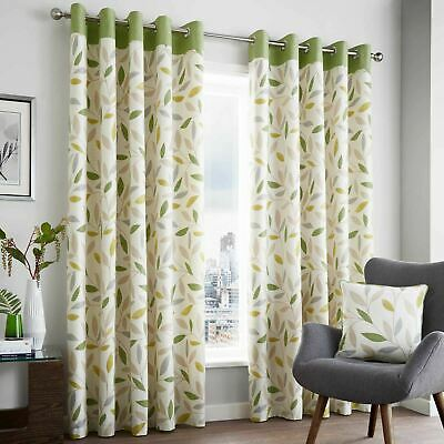 Green Eyelet Curtains Beechwood Leaf Cotton Ready Made Ring Top Curtain Pairs