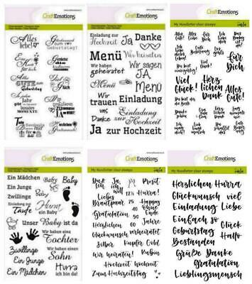 Clear Stamps GLÜCKWUNSCH Hochzeit Baby CRAFTEMOTIONS Silikon Stempel Text