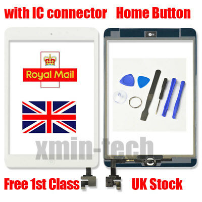 For White iPad mini 1/2 Touch Glass Digitizer Screen Replacement +IC home button