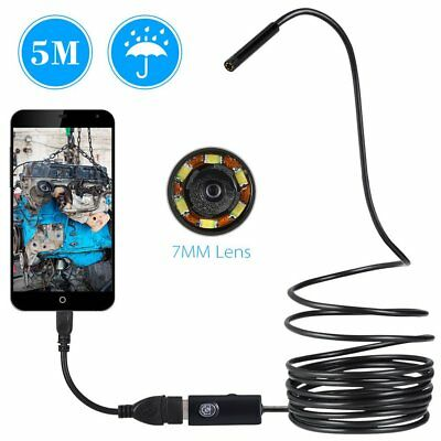 7mm Waterproof LED Endoscope Pipe Car Inspection Camera Scope Android Phone PC