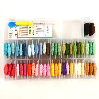 Embroidery Cross Stitch Floss with Organizer Storage Box  50 Color Floss Kits