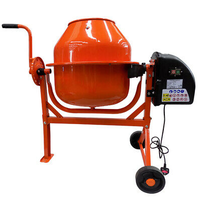 Portable Electric Concrete Cement Mixer Drum Plaster Mortar Mixing Machine Wheel