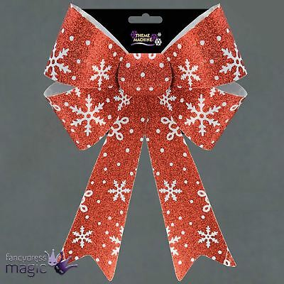 Large Red Glitter Bow Snowflakes Christmas Tree Wreath Table Decoration 32cm