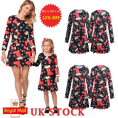 Christmas Mother and Daughter Family Matching Baby Kids Women Clothes Xmas Dress
