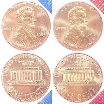 2004 P D Lincoln Memorial Cent BU US Mint Cello 2 Coin Penny Set