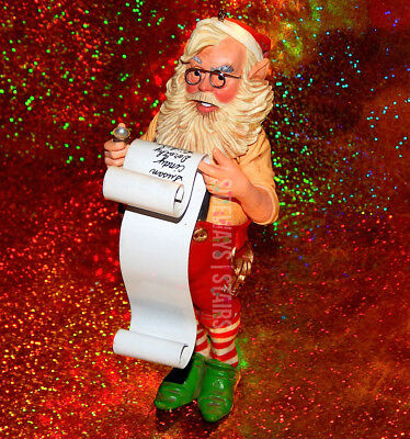1980 HALLMARK SANTA CHECKING LIST ORNAMENT vintage Christmas xmas holiday elfin
