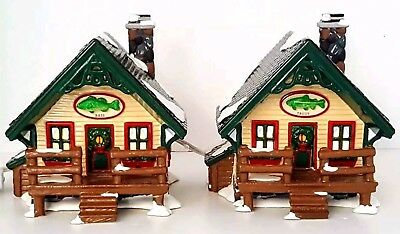 Department 56 Fisherman's Nook Cabins # 54615 Christmas Snow Village Boxed