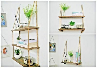 Rustic Hanging Wooden Wall Shelf Country Shabby Chic Vintage Rope Storage Shelf
