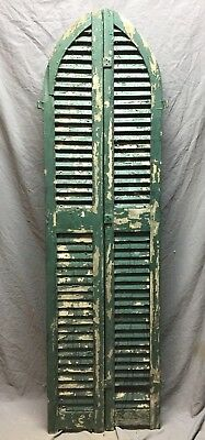 Antique Pair Arched Gothic Top Wood Window Louvered Shutters 10X73  Vtg 428-18C