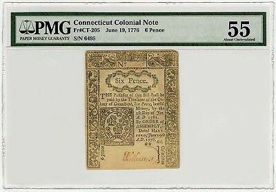 1776 Signed by Elisha Williams 6 Six Pence Colonial CT Note PMG 55 Almost Unc