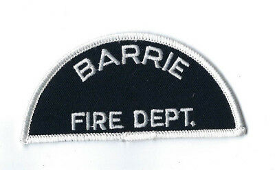 Barrie ON Ontario CANADA Fire Dept. *WHITE half-moon* patch - NEW!