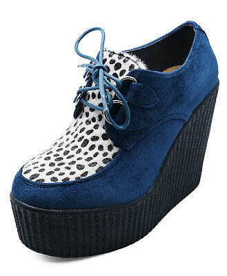 Ladies Blue Leopard Platform Creepers Lace-Up Wedge Brogues Loafers Shoes 3-8