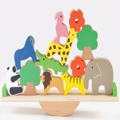 Kid's Child Xmas Wooden Forest Stacking Animals Seesaw Building Blocks Game Toys