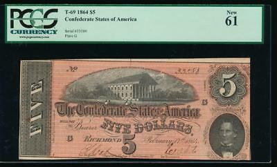 AC T-69 $5 1864 Confederate Currency CSA PCGS 61 uncirculated