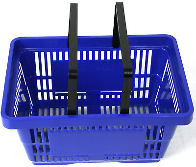 2 Handle Blue Plastic Shopping Basket Retail Supermarket Use Hand Carry