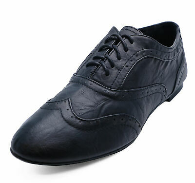 Ladies Black Lace-Up Flat Brogues Loafers Smart Comfy Work Shoes Pumps Sizes 3-8