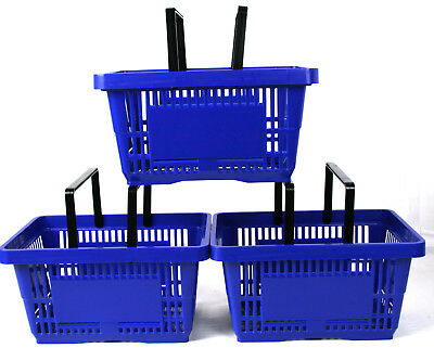 Pack of 20 x 2 Handle Blue Plastic Shopping Basket Retail Supermarket Use