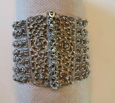 Egyptian 800 Silver Bracelet Filigree Cuff Chainmaille SIGNED Cairo ca.1939-1945