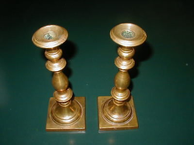Pair of Antique Brass Candlesticks that Screw into the Bases, 2 1/2 Pounds Each