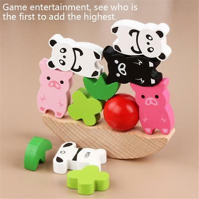 Wooden Stacked Animal Building Blocks Kid Puzzle Education Toy Balance Train