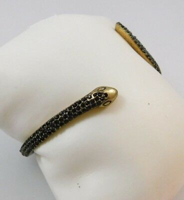 Lucky Brand Antique Gold Tone Thin Pave Snake Bangle Bracelet