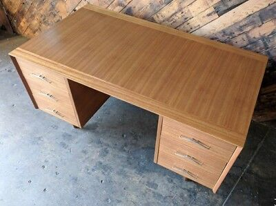 Gorgeous Mid Century. Brown Saltman Desk, Refinished.