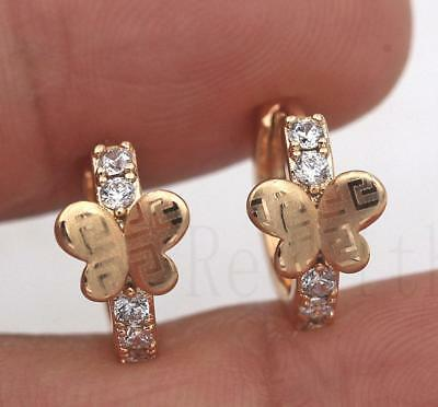18K Gold Filled -Earrings Zircon Hoop Butterfly Laser Carving Geometry Women