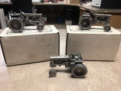 """Set of 3 Farmall 1206 Turbo Pewter Tractor by Spec Cast Collectible 3.25"""""""
