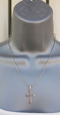 "Vintage Solid Sterling Italian Silver.925 Hallmarked 20"" Necklace& Fleurée Cross"
