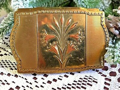 Vintage Van Ace Fifth Ave New York Gold Tone Powder Compact
