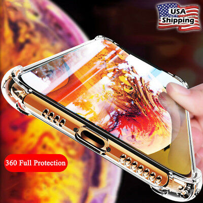 Hybrid Shockproof Clear TPU Hard Bumper Case For iPhone Xs Max XR X 7 8 Plus