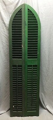 Antique Pair Arched Gothic Top Wood Window Louvered Shutters 10X73 Vtg 433-18C