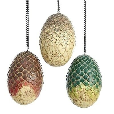 Game of Thrones Drogon, Rhaegal, & Viserion 3.5 inch Egg Ornaments Set of 3
