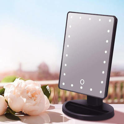 Touch Screen Makeup Mirror Stand Tabletop Cosmetic Vanity Light-up Mirror 22LED