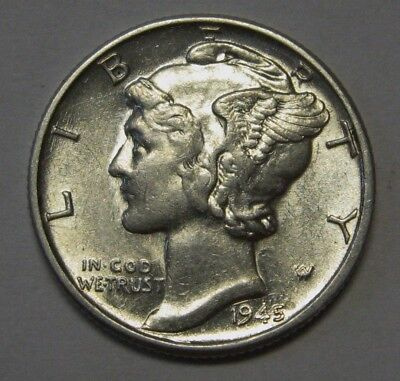 1945 Mercury Head Silver Dime Grading in the AU Range Last Year of Issue